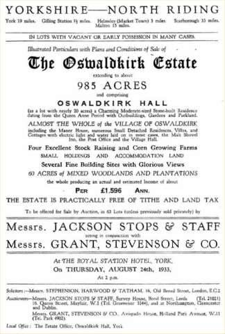 "The house was sold with 985 acres and ""almost the whole village of Oswaldkirk"" in August 1933"
