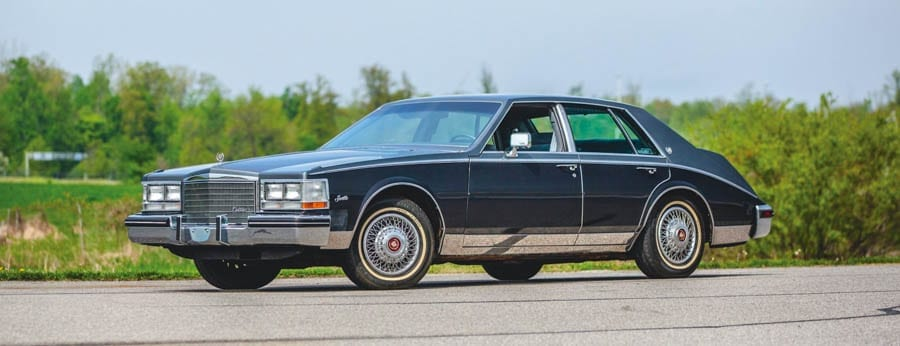 A Cut-Price Cadillac – 1985 Cadillac Seville to be auctioned; its estimate is just £9,500 to £12,600 ($12,000 to $16,000, €10,700 to €14,300 or درهم44,100 to درهم58) through RM Auctions' 2019 Auburn Spring sale in Auburn Auction Park from 29th May to 1st June 2019, Indiana; the perfect car for any hip-hop or 'Dallas' devotee.