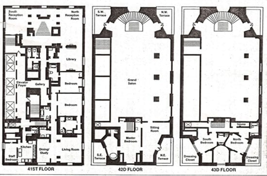 The floorplan of The Penthouse at The Pierre as it was in 1996