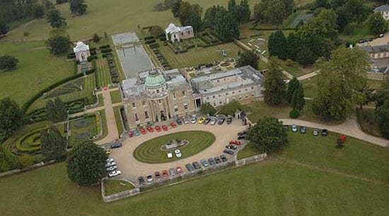 An aerial shot of Tyringham Hall during the 2007 Derrick Goodman event