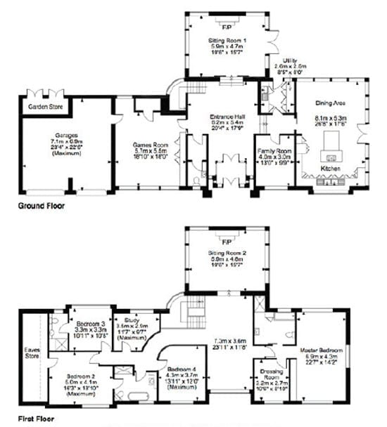 A floor plan of the property