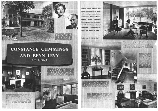 "A magazine article titled ""Constance Cummings and Benn Levy At Home"""