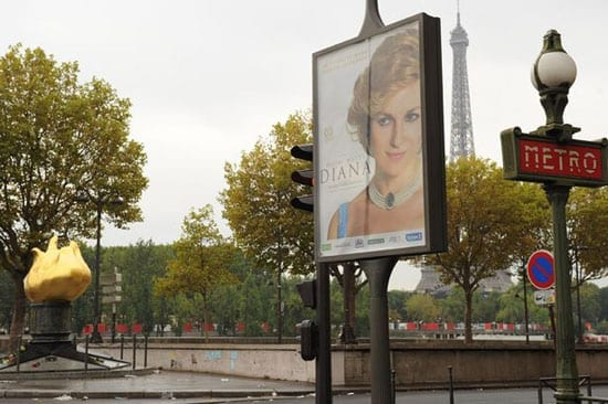"""A poster for the film """"Diana"""" has been put up close to the scene of her death"""