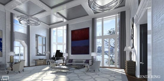 A rendering of one of many proposed reception rooms