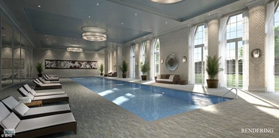 A rendering of the proposed 82-foot long swimming pool