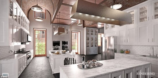 A rendering of the proposed family kitchen