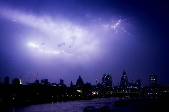 A second image shows the electrical storm in full force