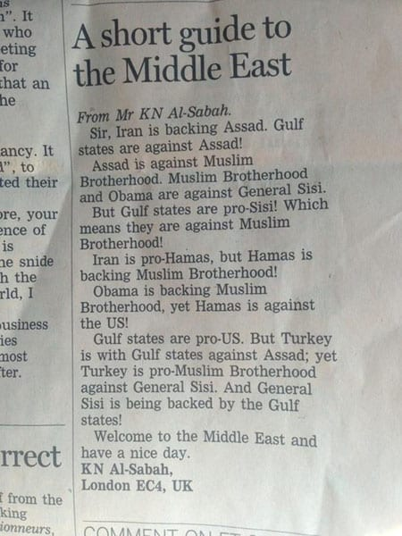 "K. N. Al-Sabah's letter to the ""Financial Times"", published 22nd August 2013"