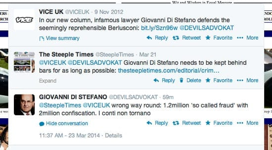 A tweet purportedly from Giovanni Di Stefano @DEVILSADVOKAT was sent to The Steeple Times @SteepleTimes this morning