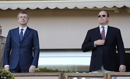 AS Monaco owner Dmitry Rybololoev pictured with Prince Albert II of Monaco