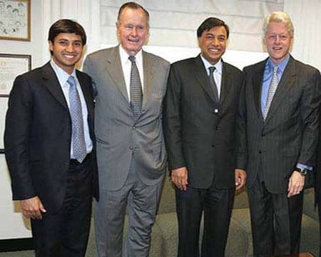 Aditya Mittal with his father Laskshmi Mittal and President George H. W. Bush and President William J. Clinton