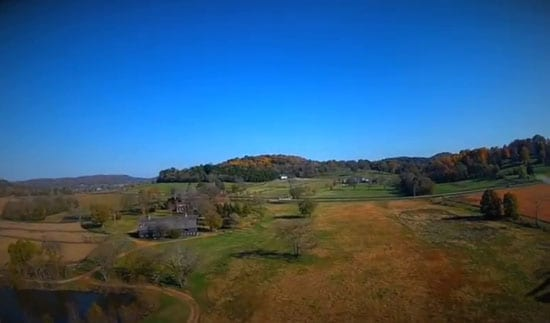 An aerial shot of the 753 acre property