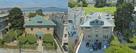 Aerial views of the house from the front and rear show both San Francisco's Bay and Alta Plaza Park