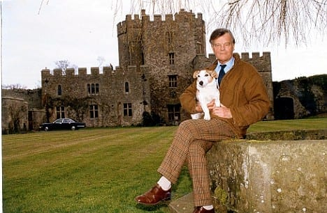 Alan Clark outside his main home Saltwood Castle 1
