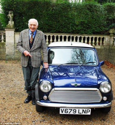 Alex Moulton with his 2000 Mini 1.3i which will also be auctioned