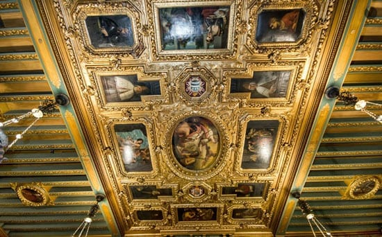 Amongst the finest features are 16th century gilded Venetian ceiling paintings