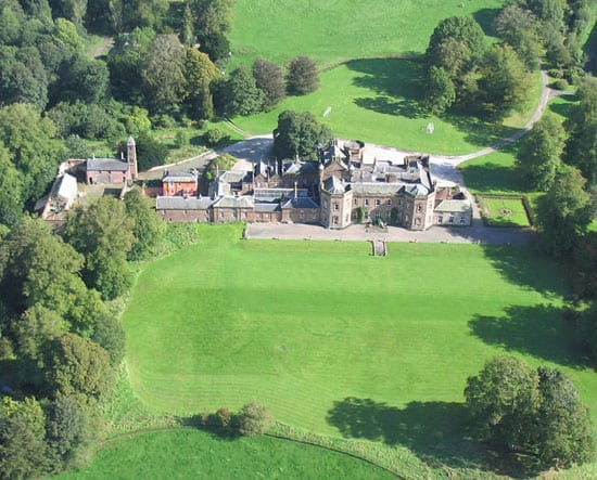 An aerial shot of Netherby Hall illustrates how vast this property truly is