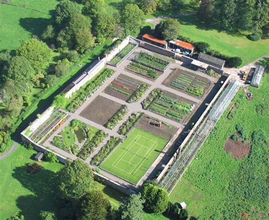 An aerial shot of the one acre walled garden (which is sadly excluded from the current asking price)