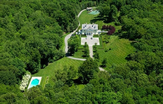 An aerial view of the 75 acre estate