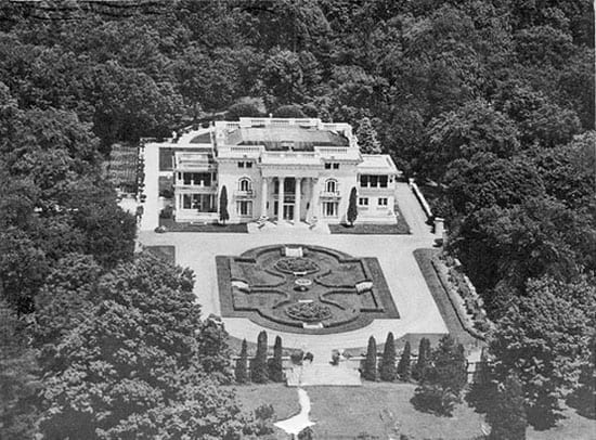 An image of the mansion taken circa 1936 prior to the house, contents and 100 acres being sold for $25,000 in 1938