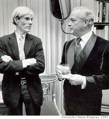 Designer Anthony Hail, right, with Andy Warhol in 1981