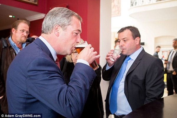 Arron Banks (right) might have joined Nigel Farage (left) and his band of beer swillers but most people still have no idea who this businessman is