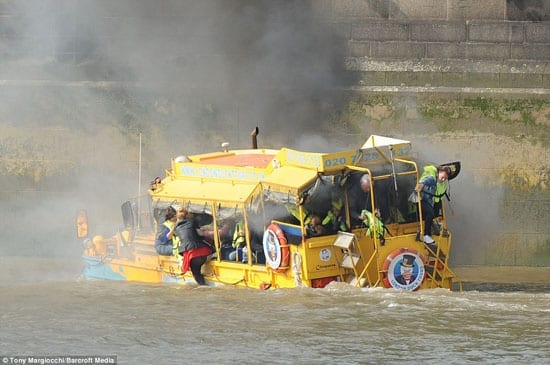 As the DUKW vehicle Cleopatra burnt passengers were forced to jump into the Thames