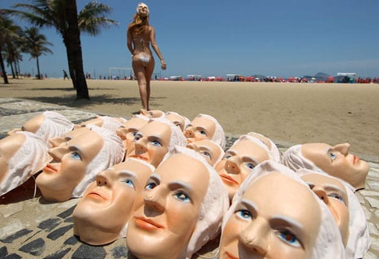 "Masks with the face of Wikileaks' founder Julian Assange were distributed by two Brazilian journalists at Ipanema Beach in Rio de Janeiro in December 2010... In June 2013, the Brazilian foreign minister claimed the fugitive had a ""right to sunbathe"""