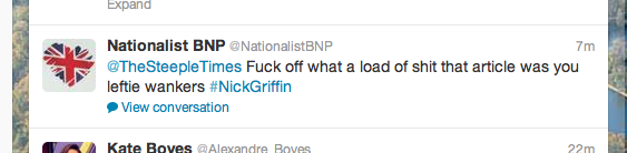 The Tweet received from a supporter of the British National Party