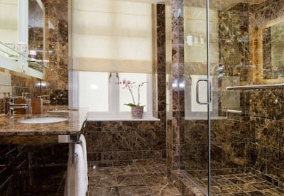 A luxuriously appointed shower room