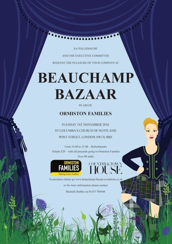 The Beauchamp Bazaar at Saint Columba's Church of Scotland, Pont Street, London, SW1X 0BD is from 4pm to 9pm on Tuesday 1st November 2016. To book tickets click here or pay on the door. Admission is £20 per person.