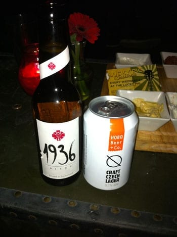 Guest beers on offer included 1936 Swiss beer and canned Hobo Czech lager