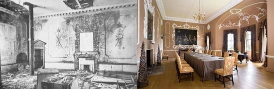Before and after: The dining room of Barlaston Hall