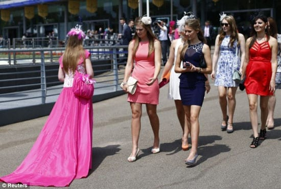 This outfit left fellow racegoers somewhat bemused