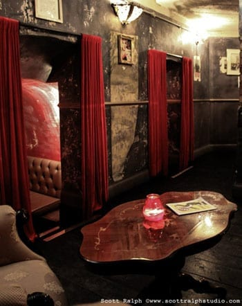 The Lucky Pig is decorated in an eccentric style and the atmosphere is lively