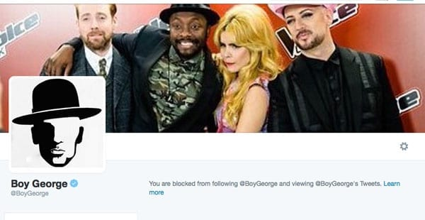 Blocked by Boy George – Boy George – George O'Dowd – blocked The Steeple Times on Twitter after we criticised him being lauded as acceptable by his inclusion on the BBC's The Voice programme