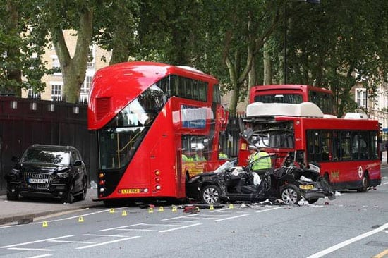 "The scene of the Route Master ""off route"" 11 crash on Chelsea Bridge Road on Sunday 22nd September 2013"