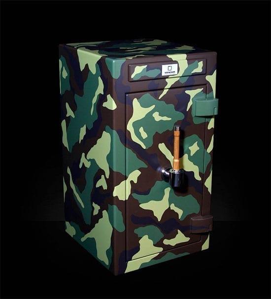 A Stockinger safe with a camouflaged exterior