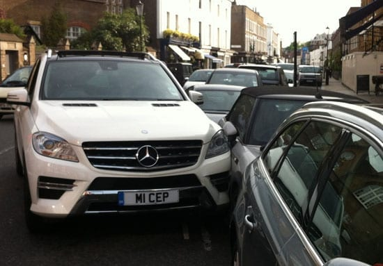 Carluccio's Mercedes-Benz found itself entagled between two other vehicles
