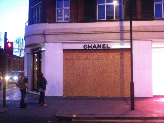 Chanel's Brompton Cross was boarded up after the robbery