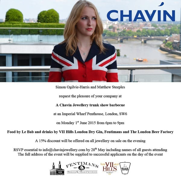 Reader Invite: Chavín Jewellery trunk show barbecue - Invitation to a jewellery trunk show barbecue on the roof terrace of a penthouse in London's Imperial Wharf