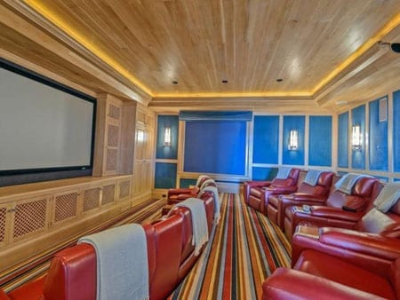 Entertaining areas number a ten seat cinema room