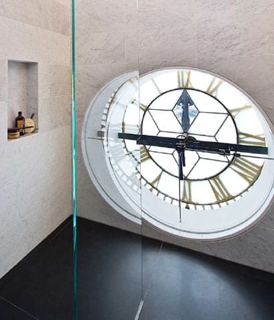 You'll always know what time it when you are showering is as one of the bathrooms in the Trafalgar One penthouse is situated with the building's clock tower