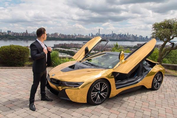 "Smashing a ""Star"" – YouTube ""star"" Coby Persin has his ridiculous gold wrapped BMW smashed with a baseball bat during a photo shoot in New York whilst blocking traffic, 27th November 2016"