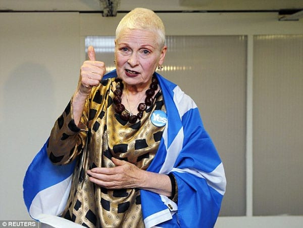 Dame Vivienne Westwood is not Scottish and has made her fortune in London but is supporting the 'Yes' campaign this week