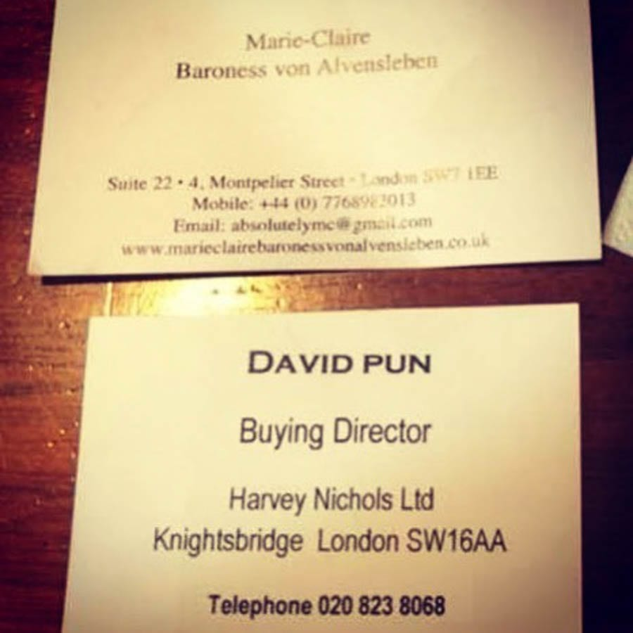 Awarding a Pun – Party crasher David Pun remerges like a rat – Rat-like party crasher David Pun puts in an appearance at the 'Mayfair Times' Awards at Claridge's – Business card of David Pun and business card of Marie-Claire, Baroness von Alvensleben.