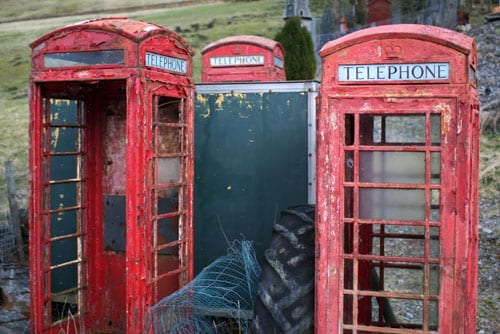 Decaying red telephone boxes are an increasingly common sight throughout Britain