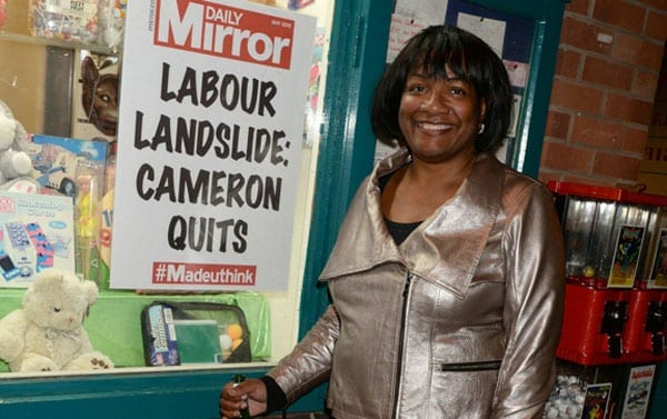 And finally, Diane Abbott MP poses with a poster that predicts something that thankfully is unlikely to happen
