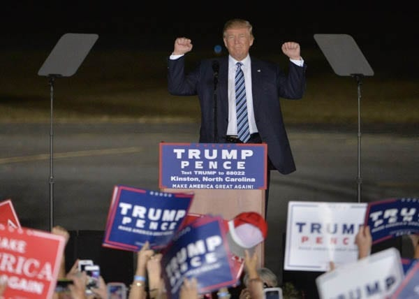 Trash and Trump – Donald Trump supporter C. J. Cary mistaken for a protester at rally in Kinston, North Carolina – Donald Trump voter Terri Lynn Rote charged with voting for him twice in Des Moines, Iowa
