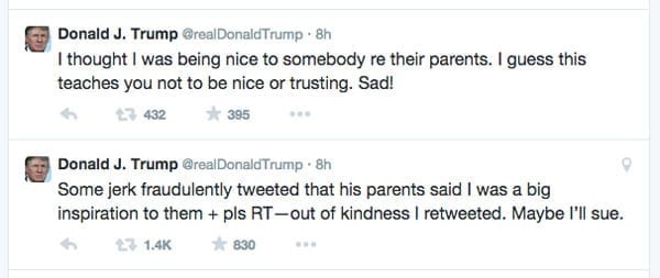 "Donald Trump later deleted the tweet and commented that the troll's actions were ""sad"""